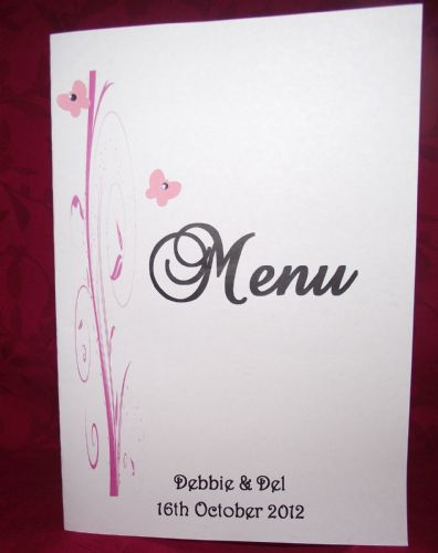 Menu with insert  Personalised Butterfly Scroll design for weddings or any occasion various colours
